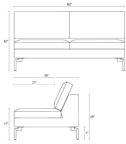 New Standard Modern Armless Sofa Blu Dot