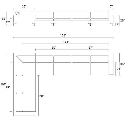 Standard L Shaped Sofa Dimensions Baci Living Room