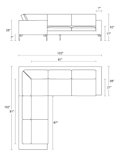 New Standard Small Sectional Sofa Modern Sofas Blu Dot