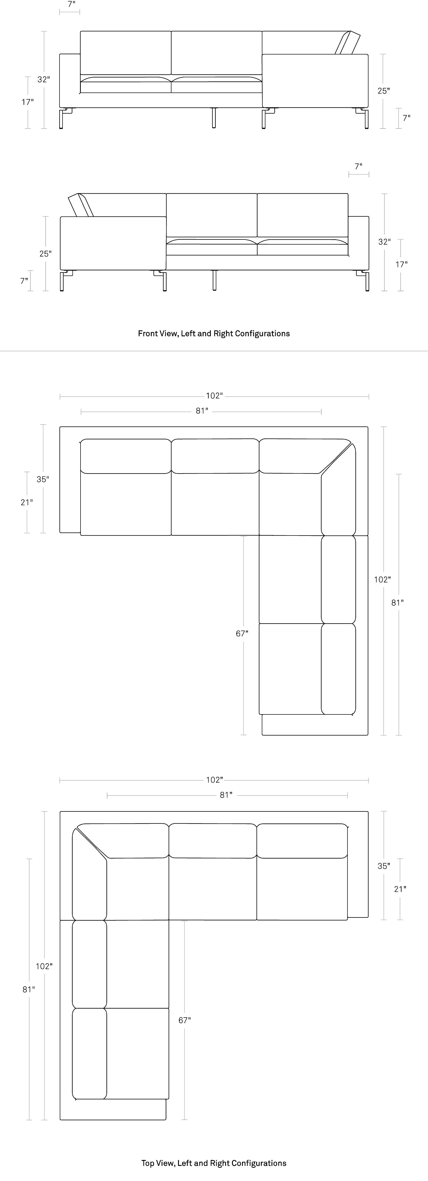 New Standard Small Sectional Sofa - Modern Sofas | Blu Dot