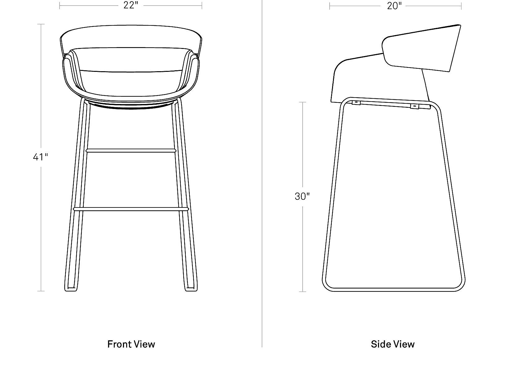 Racer Barstool Modern Upholstered Bar Stool Blu Dot