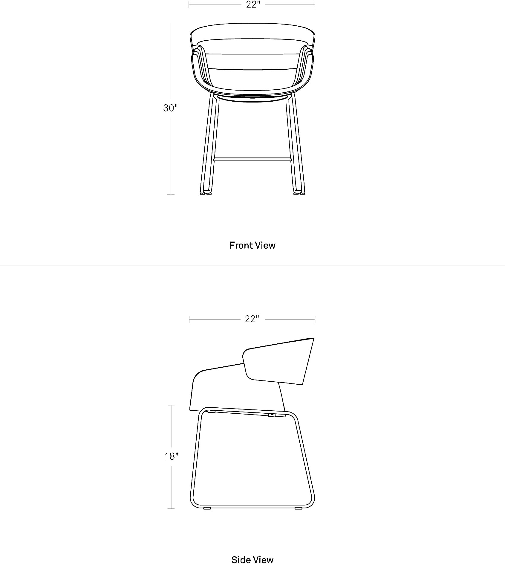 Dining Room Chair Dimensions: Racer Dining Chair - Modern Fabric Dining Chair