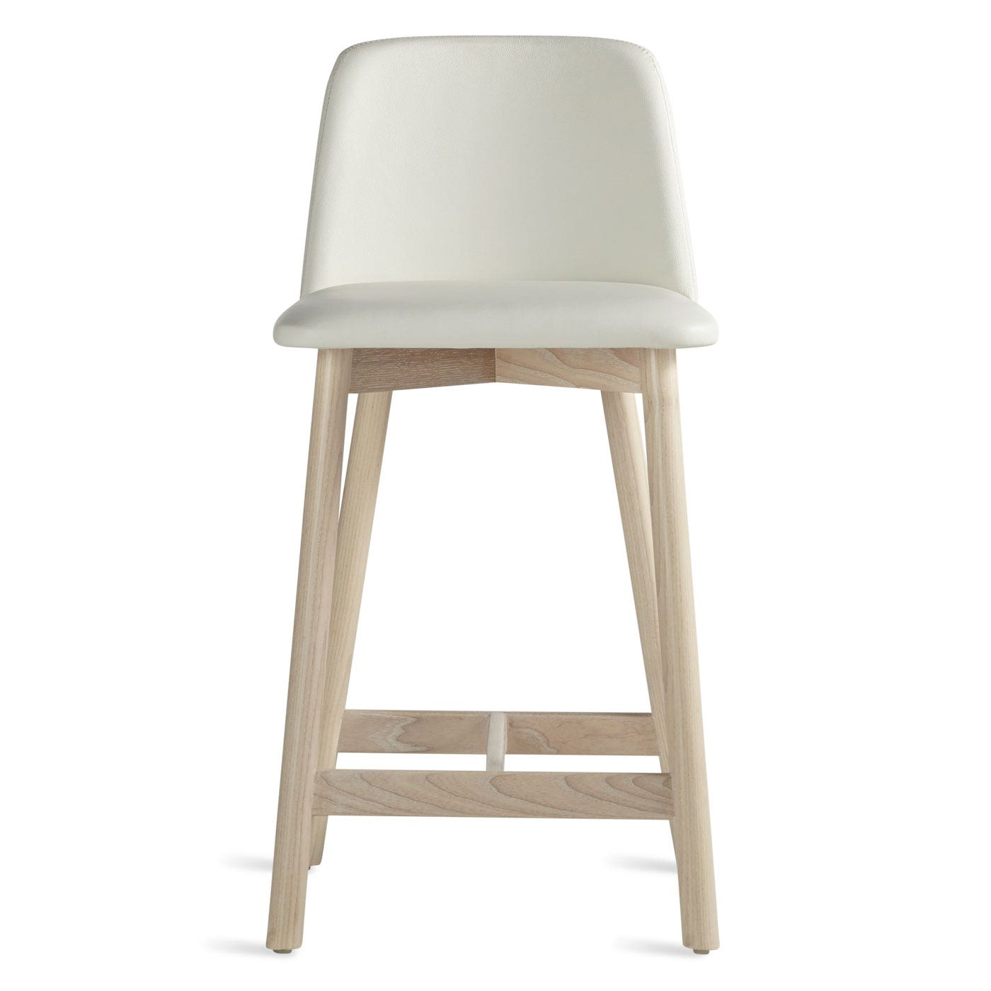 White Leather Barstools chip modern leather counter stool with back | blu dot