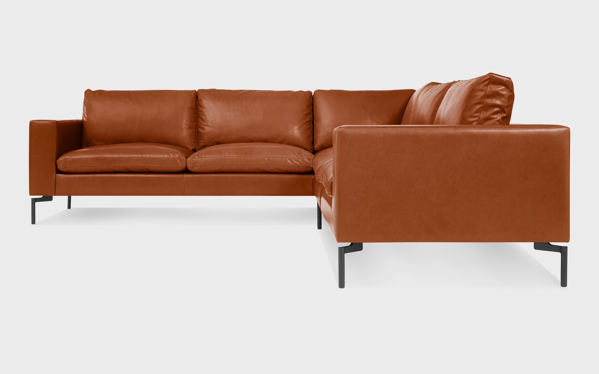 Superbe New Standard Left Leather Sectional Sofa   Small