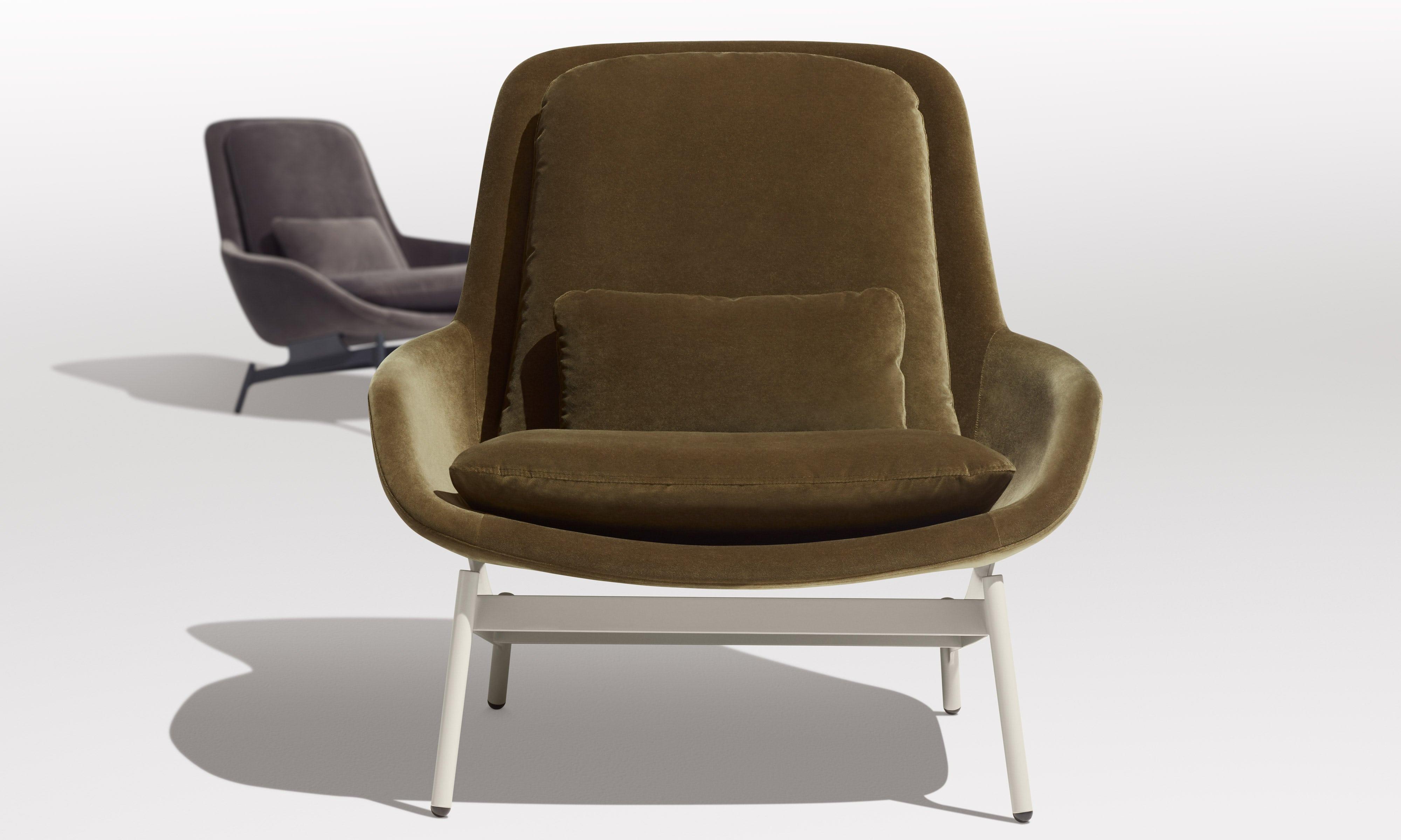 Field Modern Velvet Lounge Chair by Blu Dot