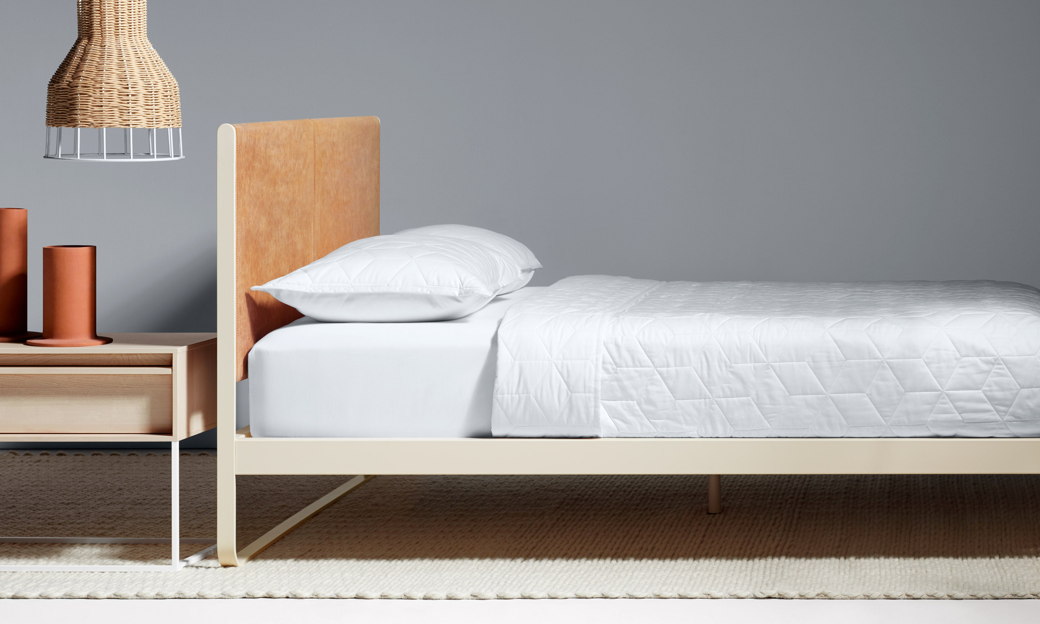 Me Time Modern Leather Queen Bed by Blu Dot