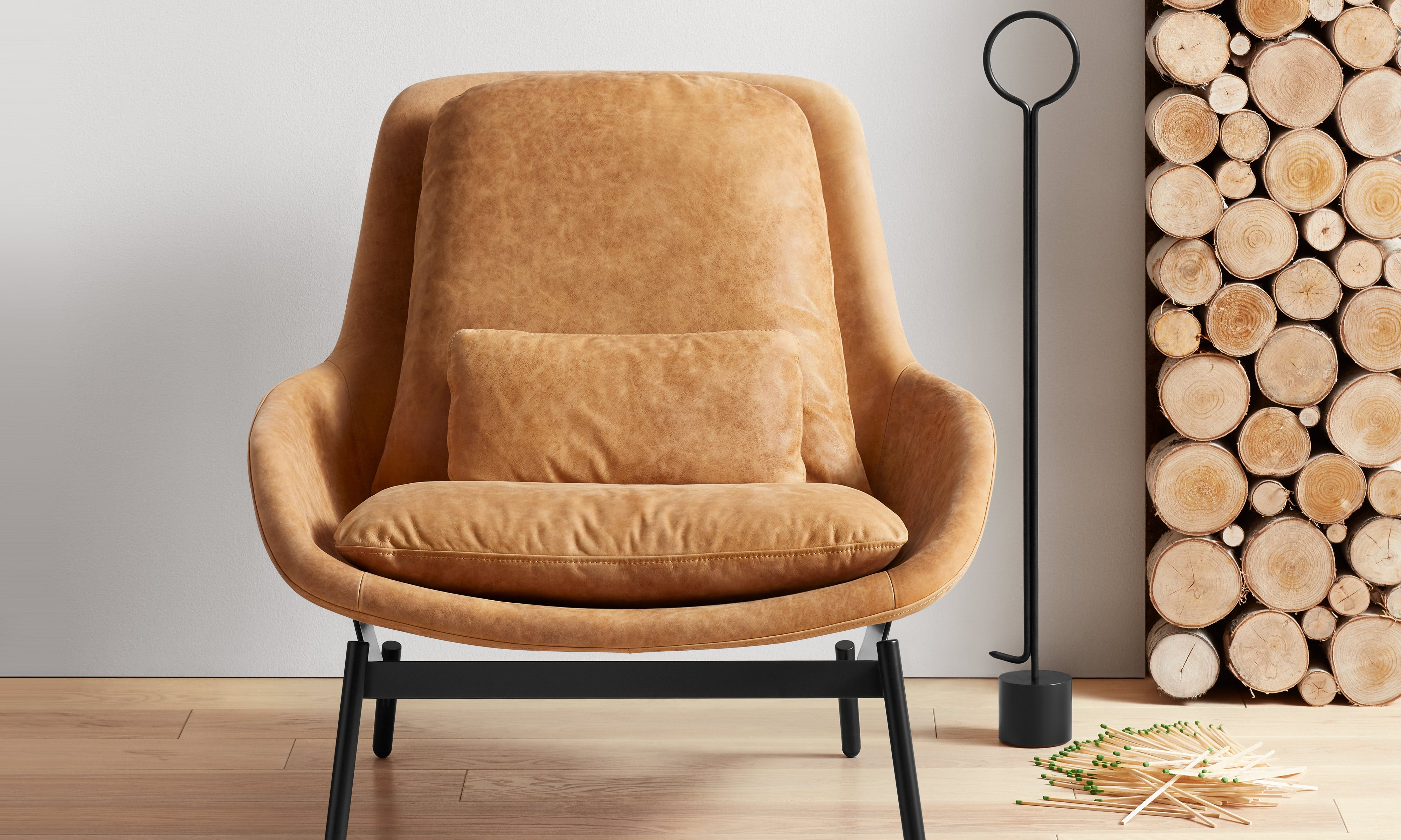Field Leather Lounge Chair with Pokey Von Pokerson Fire Poker